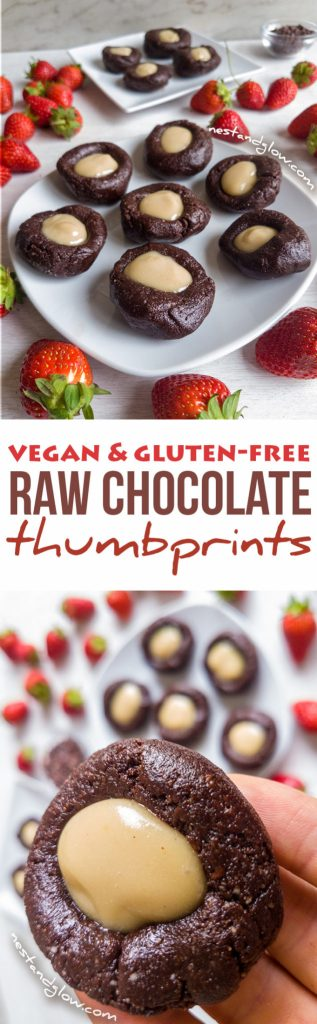 Raw Vegan Chocolate Cashew Thumbprints - Gluten-free and healthy