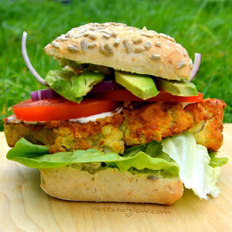 Chickpea Cauliflower Spicy Burger   Gluten-free & Vegan