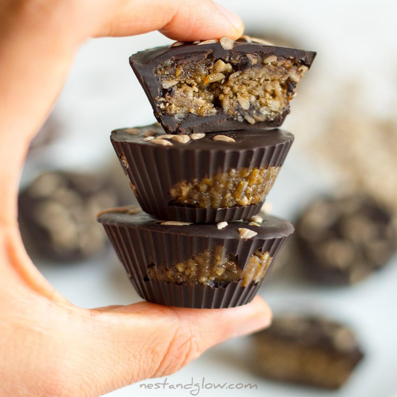 Sunflower Caramel Dark Chocolate Cups Recipe