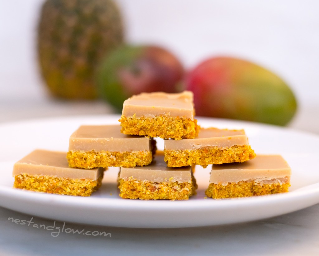 Dairy free fudge with mango and pineapple