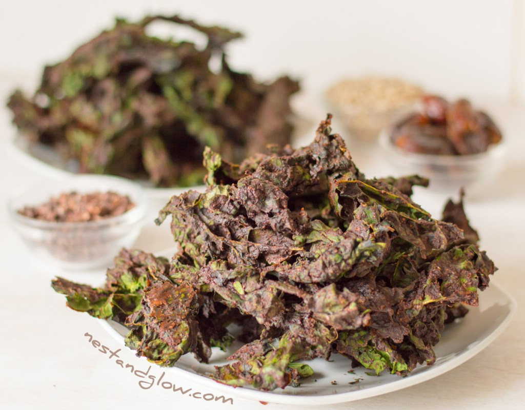 plate of raw chocolate kale chips