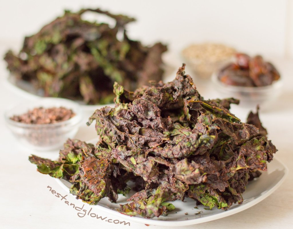 Chocolate Sunflower Kale Chips Recipe - Nut-free and Healthy