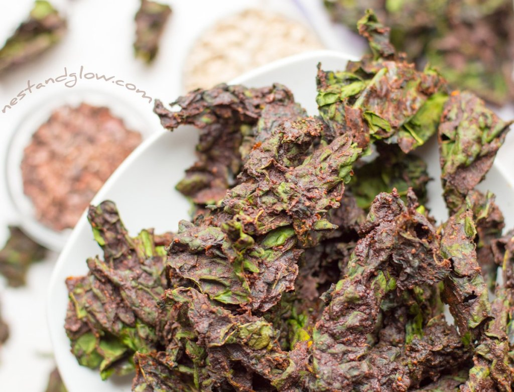 Close up chocolate kale chips
