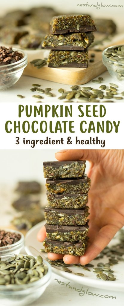 3 Ingredient Pumpkin Seed Chocolate Candy - Vegan, Nut-free, Paleo and Healthy