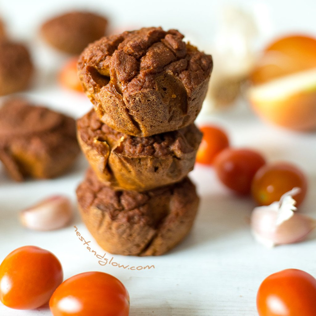 Stacked Quinoa Sundried Tomato Muffins