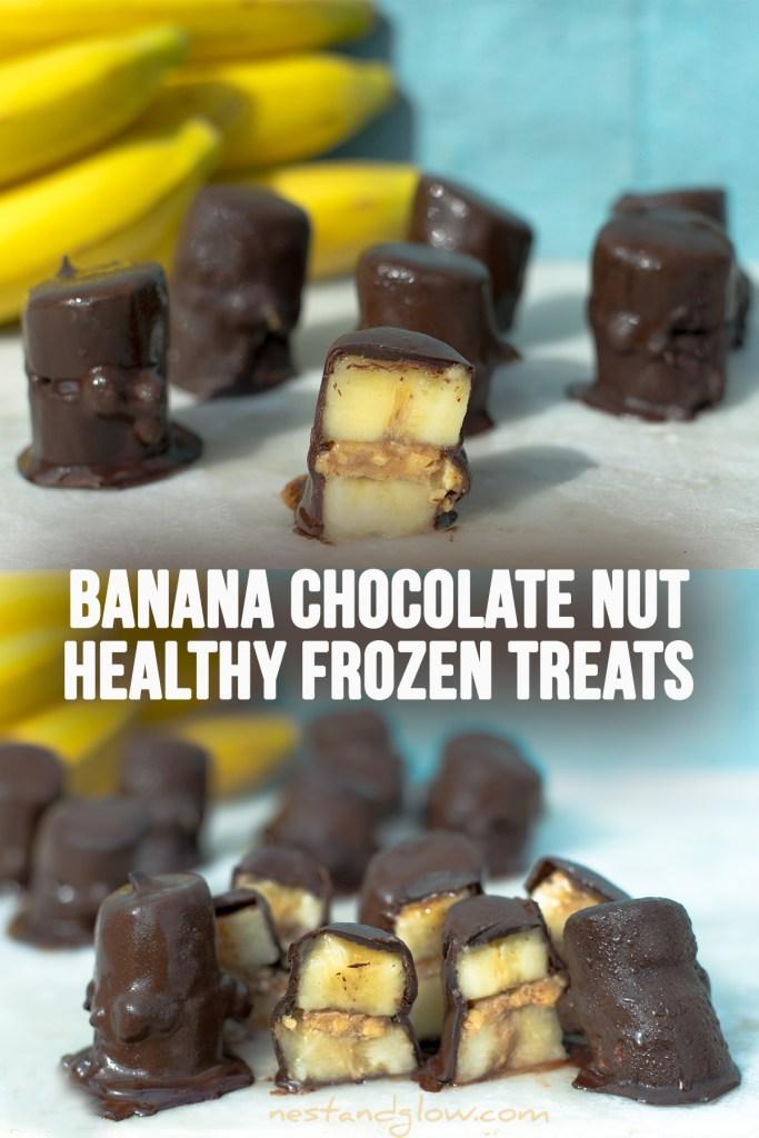 Banana Nut Caramel Chocolate Coins - easy recipe, healthy frozen treats and dairy-free #vegan #plantbased #recipe #healthytreat