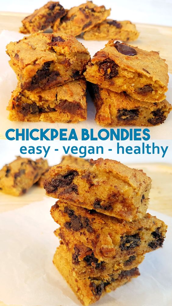 Chickpea and Almond Blondies - easy vegan recipe without peanut butter. They are gluten-free, vegan and high protein. Simple healthy recipe #vegan #protein #healthysnack #healthy #healthytreat