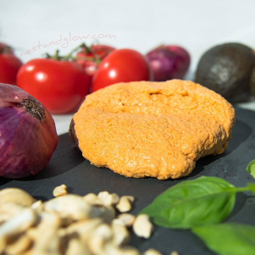 a ball of smoked cashew mozzarella.
