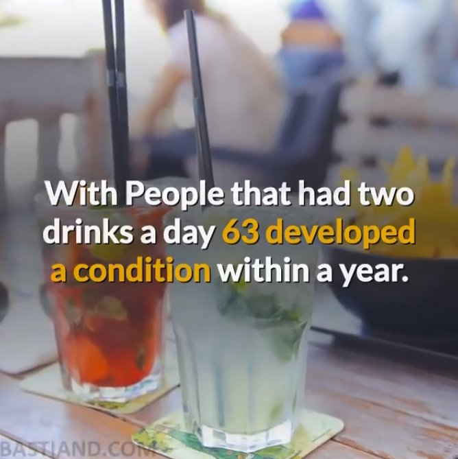 Two drinks of alcohol a day is damaging
