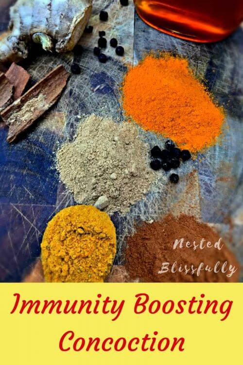 Mixture of Turmeric Ginger Black Pepper and Cinnamon to Boost Immunity