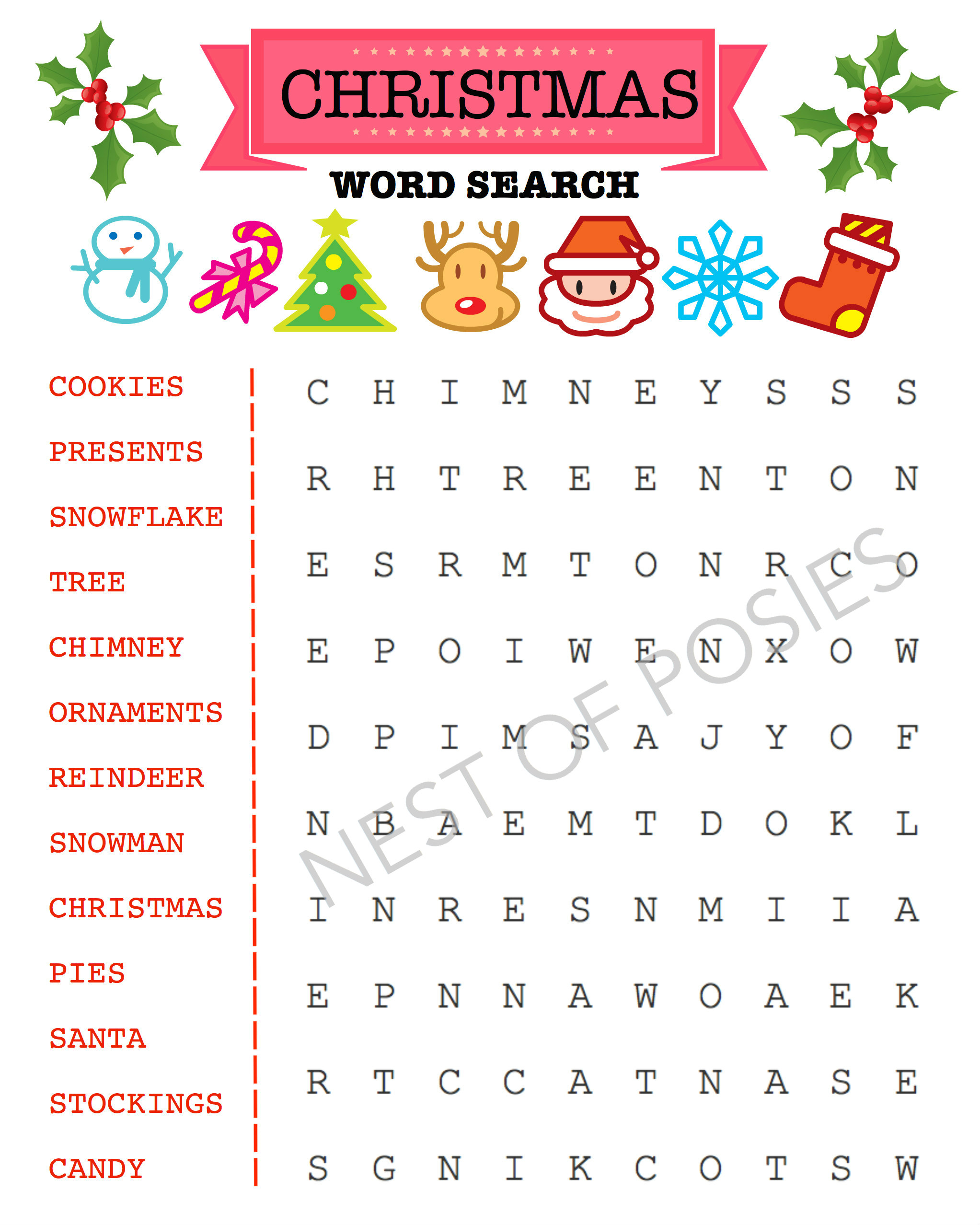 Christmas Word Search Puzzle Printable Logo