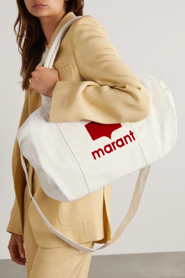 ISABEL MARANT Nayogi flocked cotton-canvas weekend bag