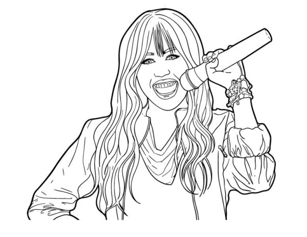 miley hold microphone in hannah montana coloring page  netart