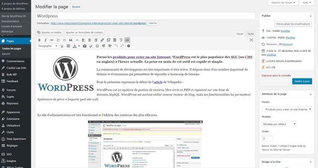 WordPress 4.6.1 Back-Office Editer une page