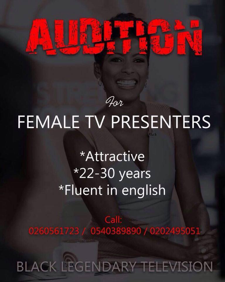 Black Legendary TV Auditions For Female Presenters