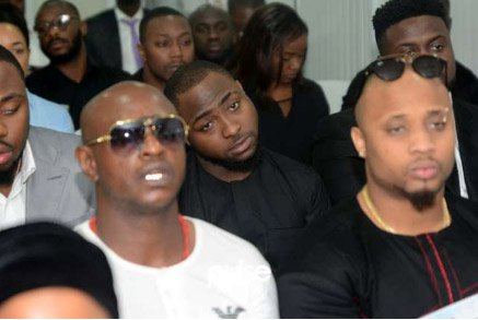 Davido attends DJ Olu's funeral service