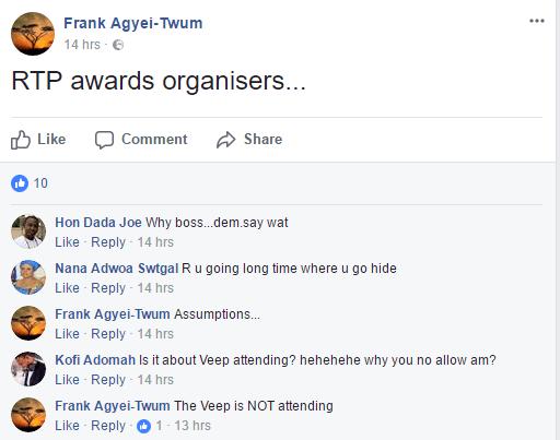 Vice President Bawumia not attending 2017 Adonko RTP Awards