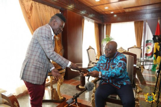 President Akufo-Addo encourages Shatta Wale to continue 'donating'