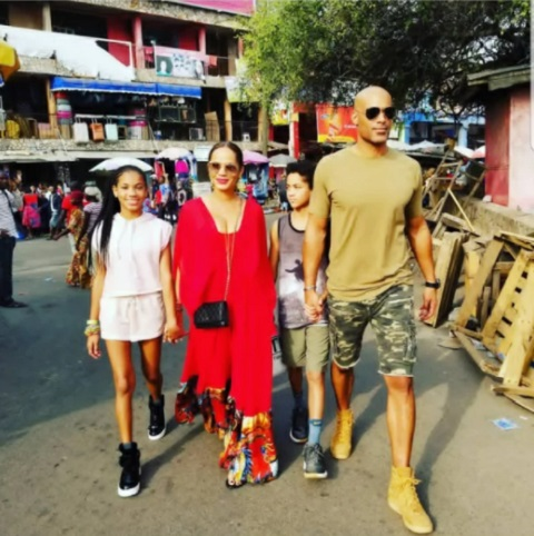 Hollywood star Boris Kodjoe visits Makola Market with wife and kids