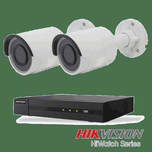 Netcam Hikvision pakke med 2 kameraer IP utendørs 4 megapixel & opptaker
