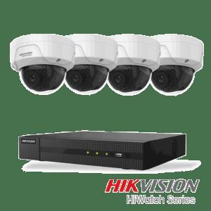 Netcam Hikvision pakke med 4 kameraer IP 2 megapixel & opptaker