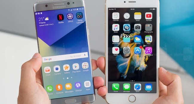 Samsung Galaxy Note 7 vs iPhone 6s Plus