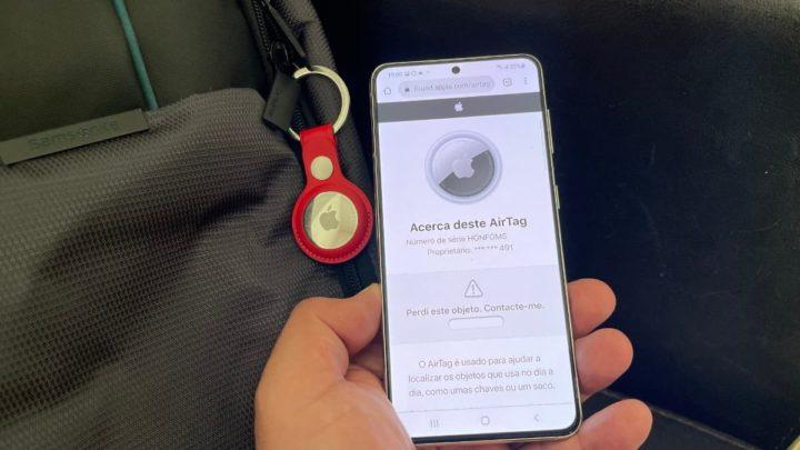 Imagen AirTag con teléfono inteligente Android