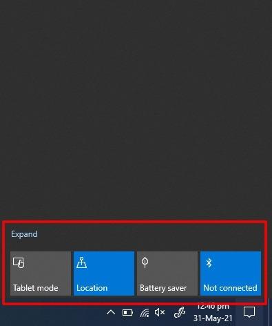 Captura de pantalla del Panel de acción rápida minimizado en el Centro de actividades en Windows 10