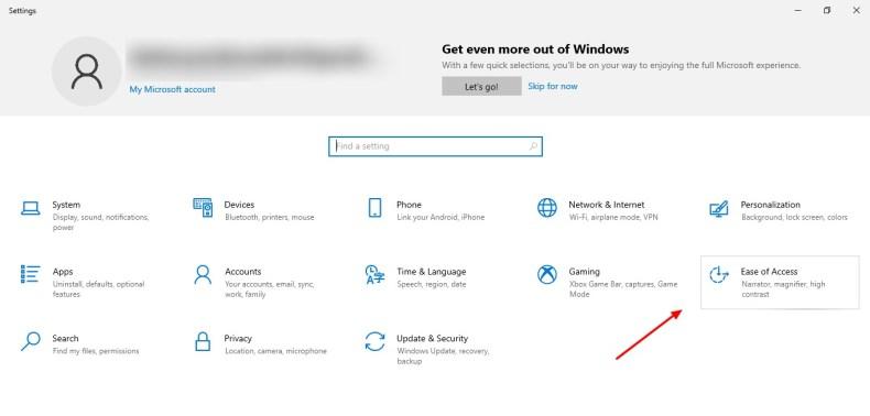 captura de pantalla de la pestaña Facilidad de acceso en Windows 10