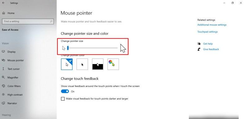 Captura de pantalla del tamaño del puntero del mouse en Windows 10