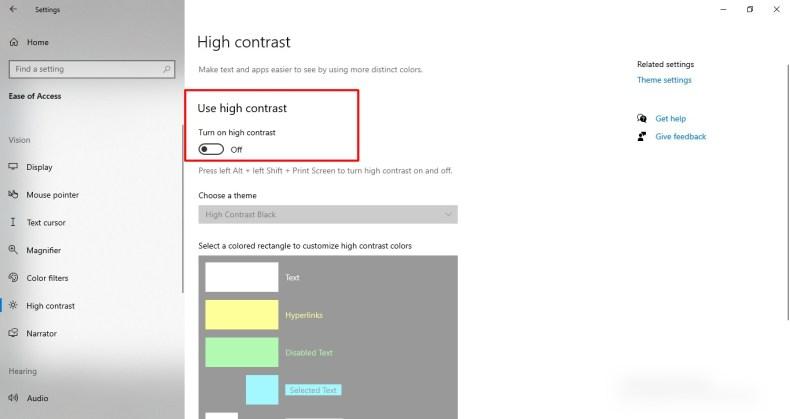 Captura de pantalla de alto contraste en Windows 10