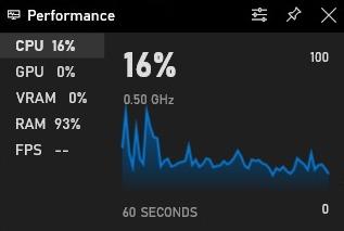 Captura de pantalla del panel oPerformane de la barra de juegos en Windows 10f