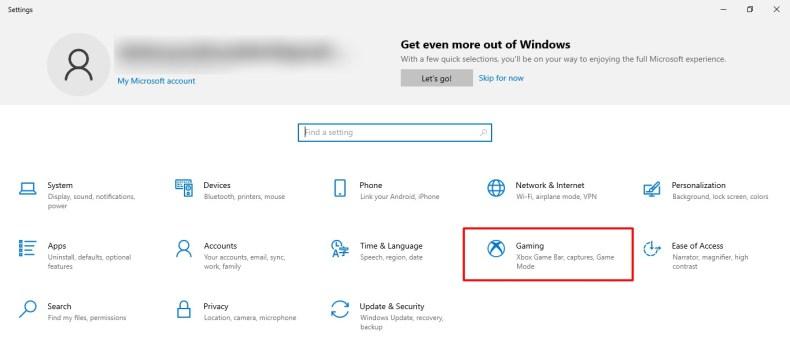 Captura de pantalla de la pestaña Juegos en la configuración de Windows 10