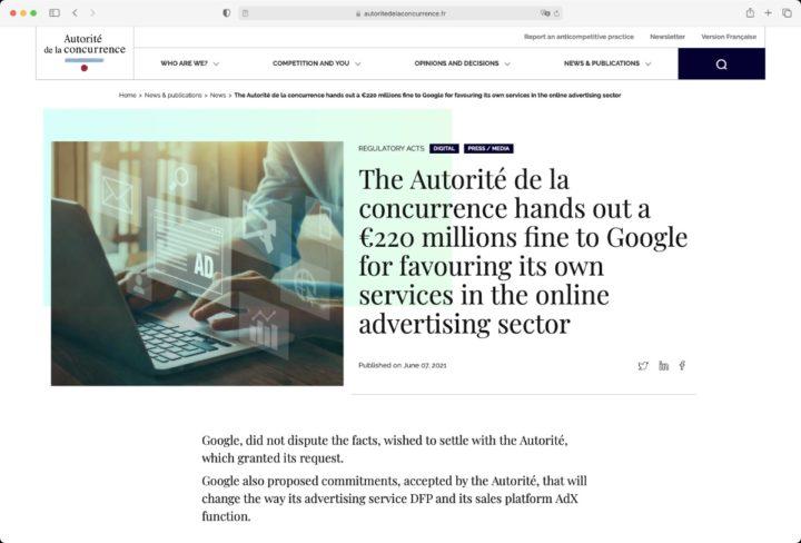 Sitio regulatorio francés que multa a Google por dominar la publicidad