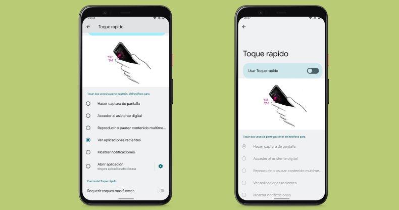 Toque rápidamente Android 12 Beta 2