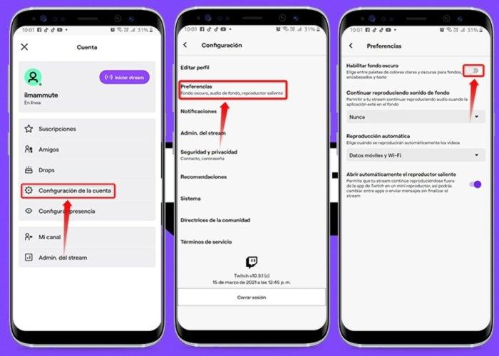 Cómo activar de forma segura el modo oscuro en Twitch para Android