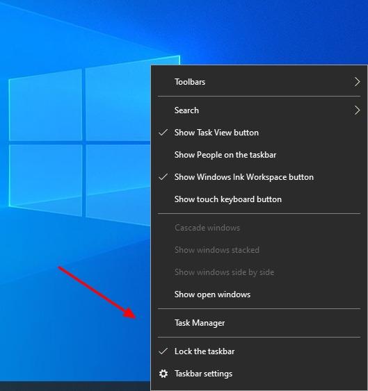Captura de pantalla de Click Task Manager en la barra de tareas en Windows 10