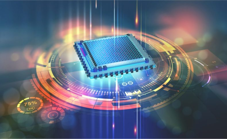 La ilustración muestra un procesador de color azul, que simboliza el trabajo de los investigadores en computación cuántica.