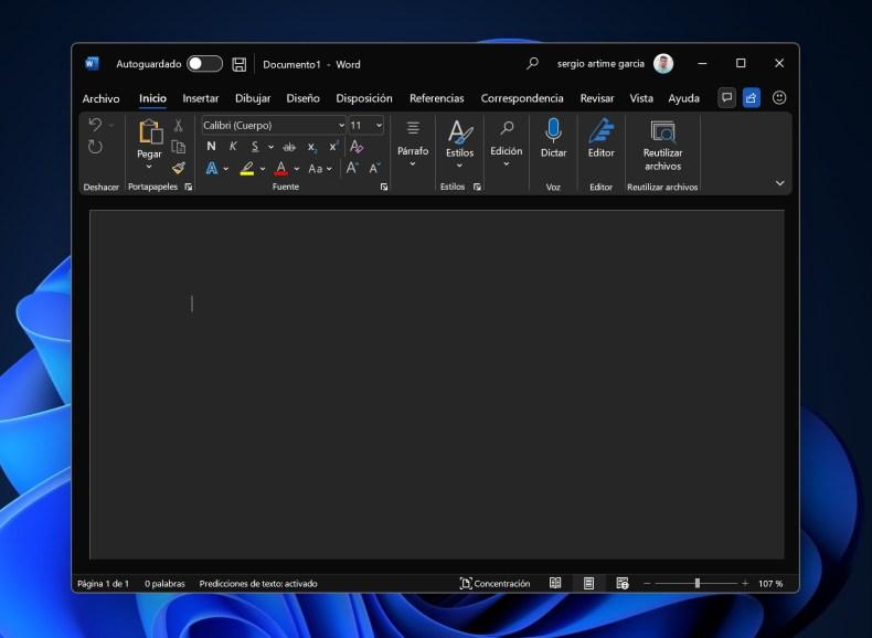 Nuevo diseño de escritorio en un tema oscuro