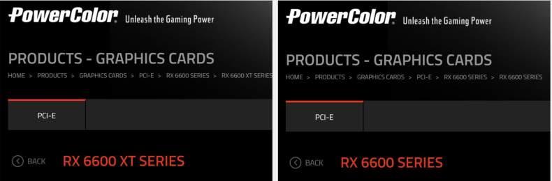 PowerColor enumera las Radeon RX 6600 y RX 6600 XT