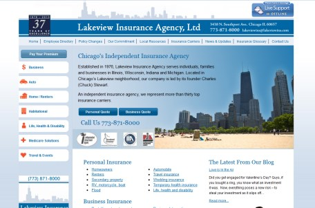 Insurance agency web site