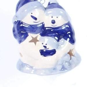 Christmas Ornament, Delft Blue, Snowman Family - Woodenshoefactory Marken