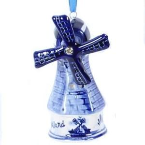Christmas Ornament, Delft Blue, Windmill 3 - Woodenshoefactory Marken