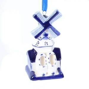 Christmas Ornament, Delft Blue, Windmill 2 - Woodenshoefactory Marken