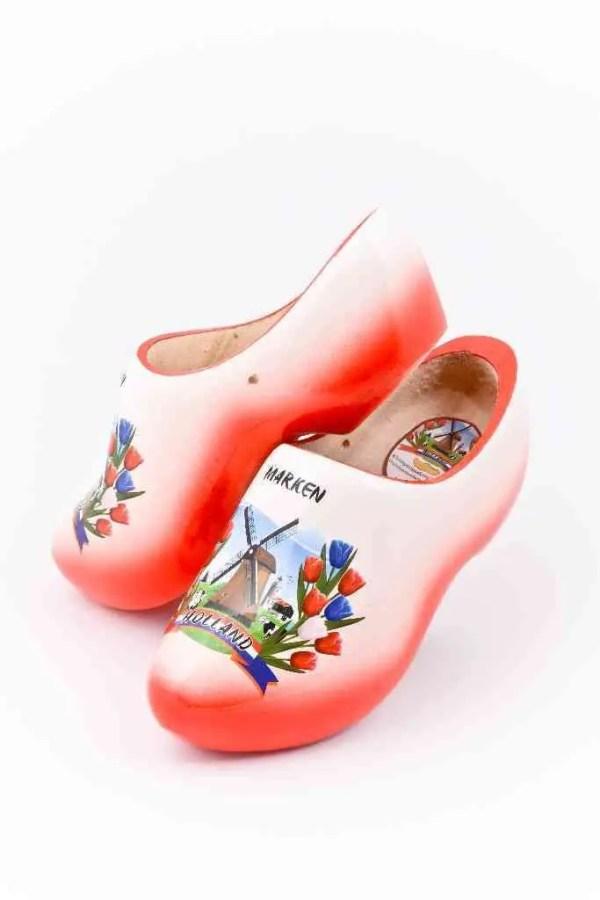 Wooden Shoes Marken Red White - Woodenshoefactory Marken