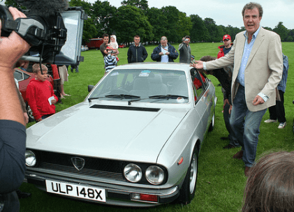 Top Gear presenters Jeremy Clarkson and James May with Tony Harrison's Lancia Beta Coupe Stanford Hall 2008