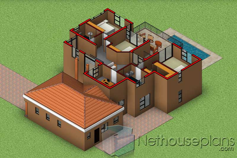 4-Bedroom-Double-STorey-House-Plans-With-Garages-South ...