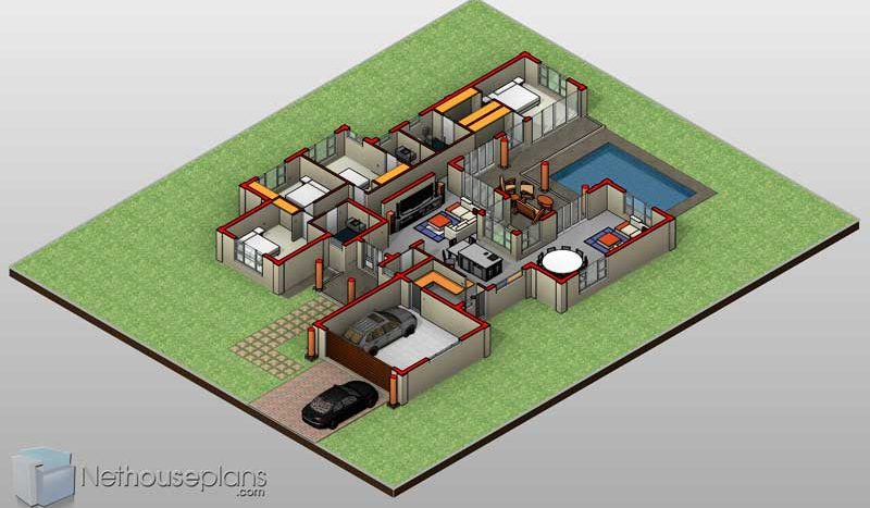 4 Bedroom House Plans South Africa Home Designs Nethouseplansnethouseplans