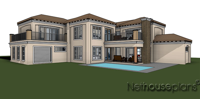 Tuscan style double storey house plan, Net House plans South Africa, Modern tuscan style house plan, 3 bedroom , double storey floor plans, house plans, house plans south africa, home designs, house designs, architectural designs, Nethouseplans,