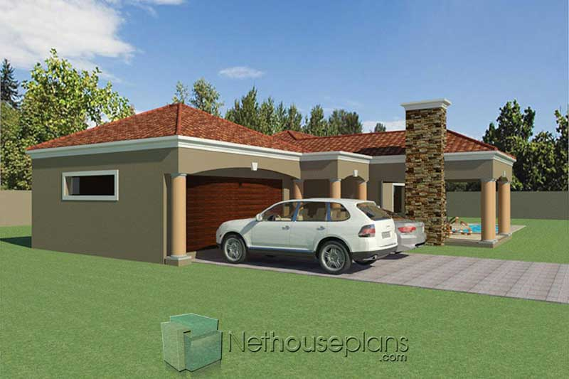 simple 3 bedroom house floor plans one storey modern house plans South Africa Nethouseplans